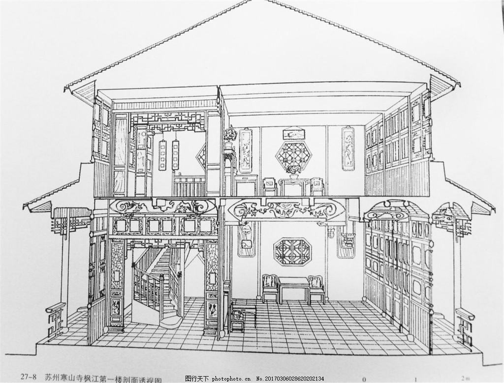 手绘中式别墅室内装修效果图