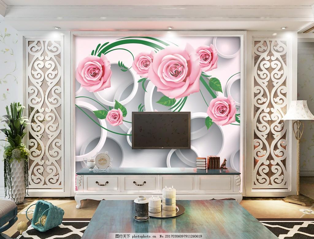 抽象背景图 室内背景图 玄关 装饰画 装饰 装饰设计 花卉圆圈背景墙