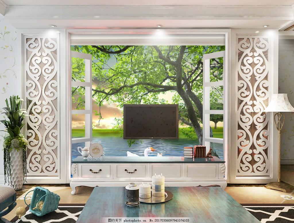室内背景图 玄关 装饰画 装饰 装饰设计 树木花卉元素背景墙