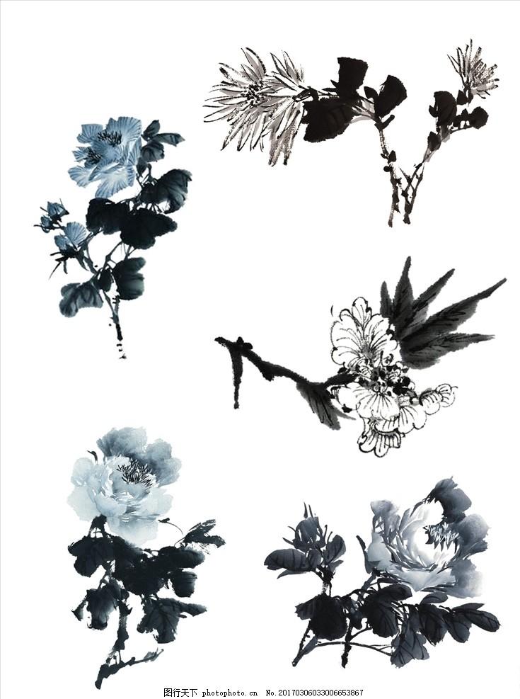 国画牡丹花 国画 墨汁 牡丹花 花朵 中国画 设计 psd分层素材 psd分层