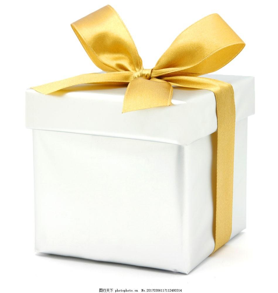 白色礼物盒图片素材 礼物 礼物盒 金色蝴蝶结 蝴蝶结扎带 白色礼物盒