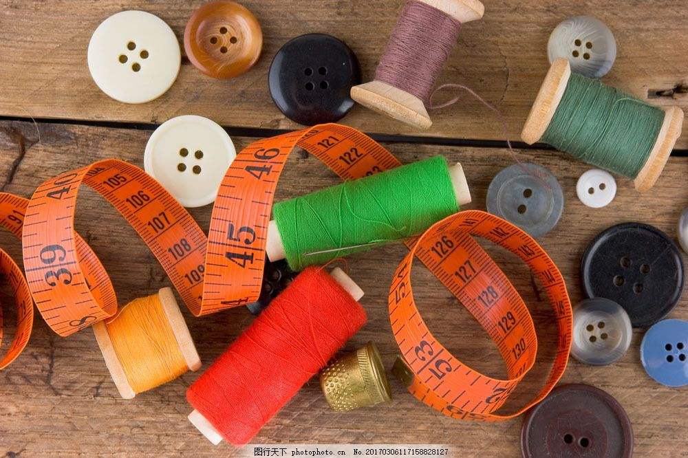 钮扣与标尺 钮扣与标尺图片素材 针线 裁缝工具 扣子 生活用品