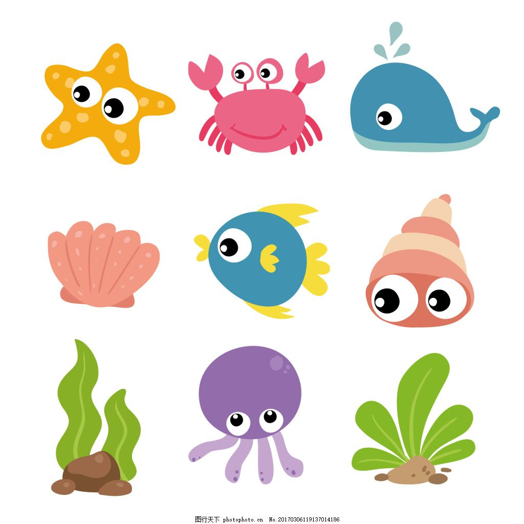 一组彩色的海洋动物鱼类 可爱 卡通 卡哇伊 ai 矢量素材 动物 小动物