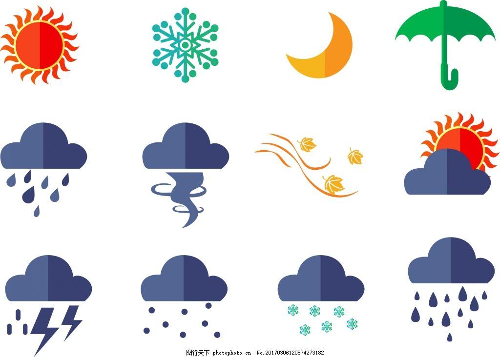 扁平化天气图标 天气图标 扁平化 扁平化图标 图标 晴天 太阳 阴天