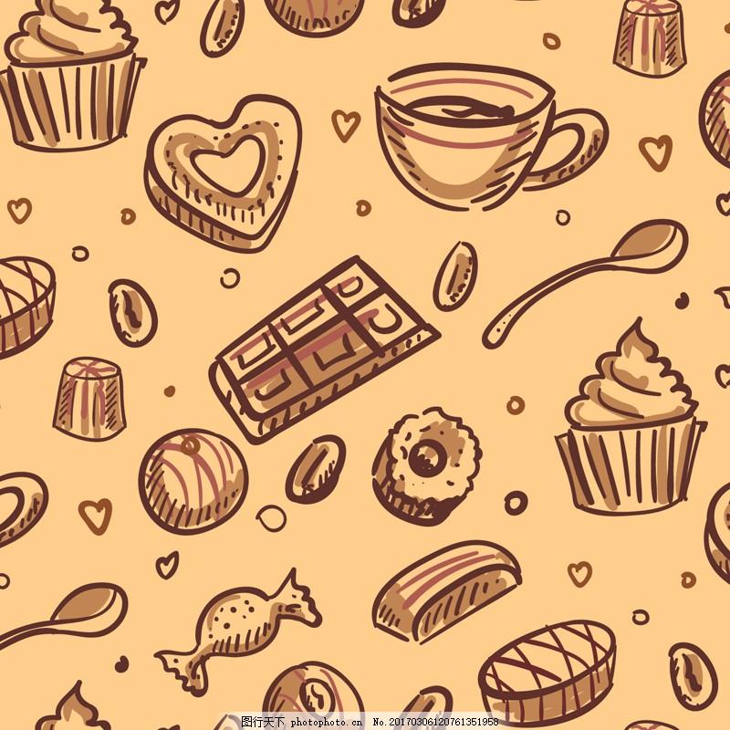 手绘咖啡甜点无缝背景矢量图