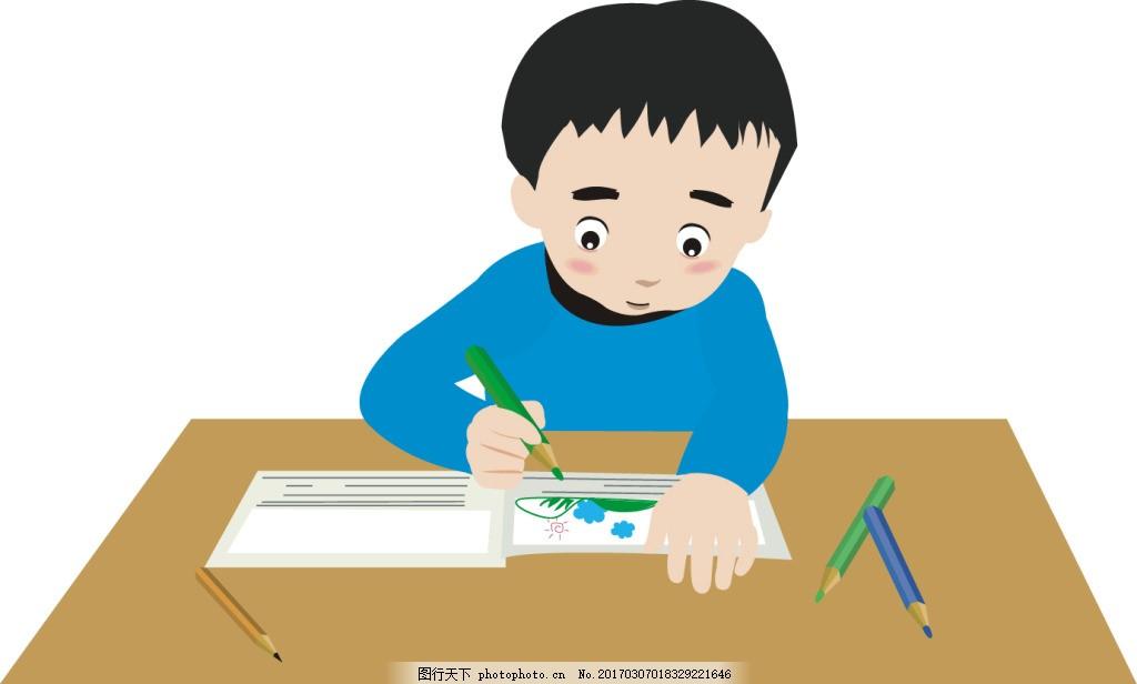 卡通课桌人物场景 卡通人物场景 学习