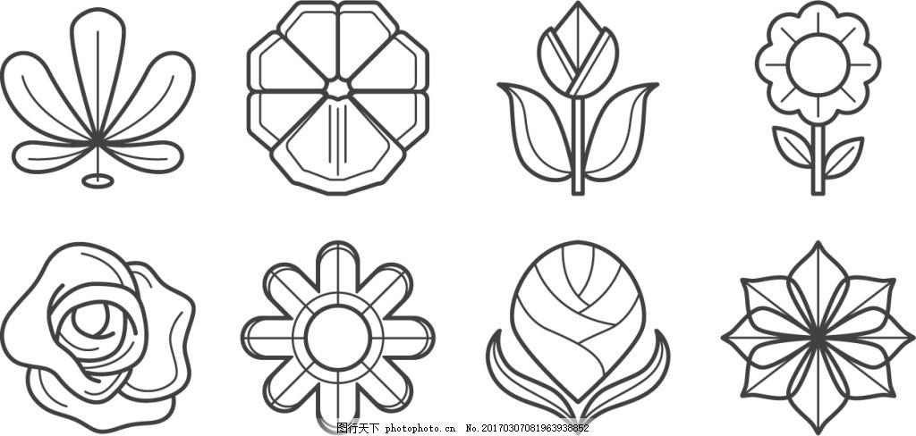 手绘创意花卉图标 三色堇 三色堇图标 植物素材 矢量素材 手绘植物