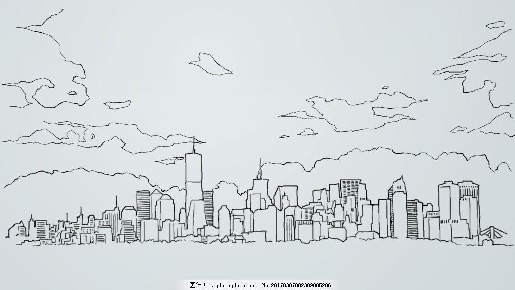 手绘城市线描