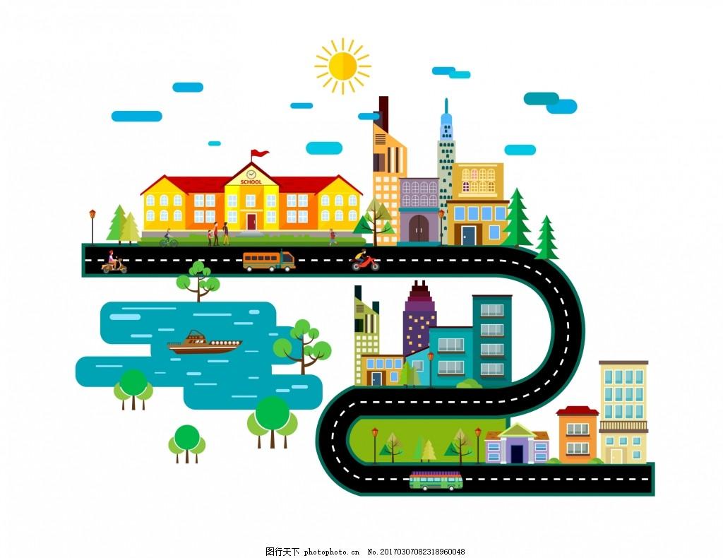 城市设计 城市 城市方案 扁平化城市 学校 道路 矢量素材 屋子 高楼