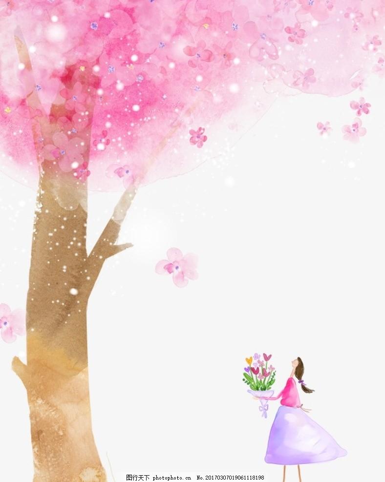 樱花 花瓣 花卉花儿 花瓣素材 手绘