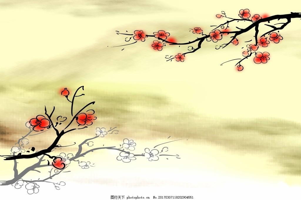 腊梅广告背景 腊梅 冬季背景 中国风 手绘梅