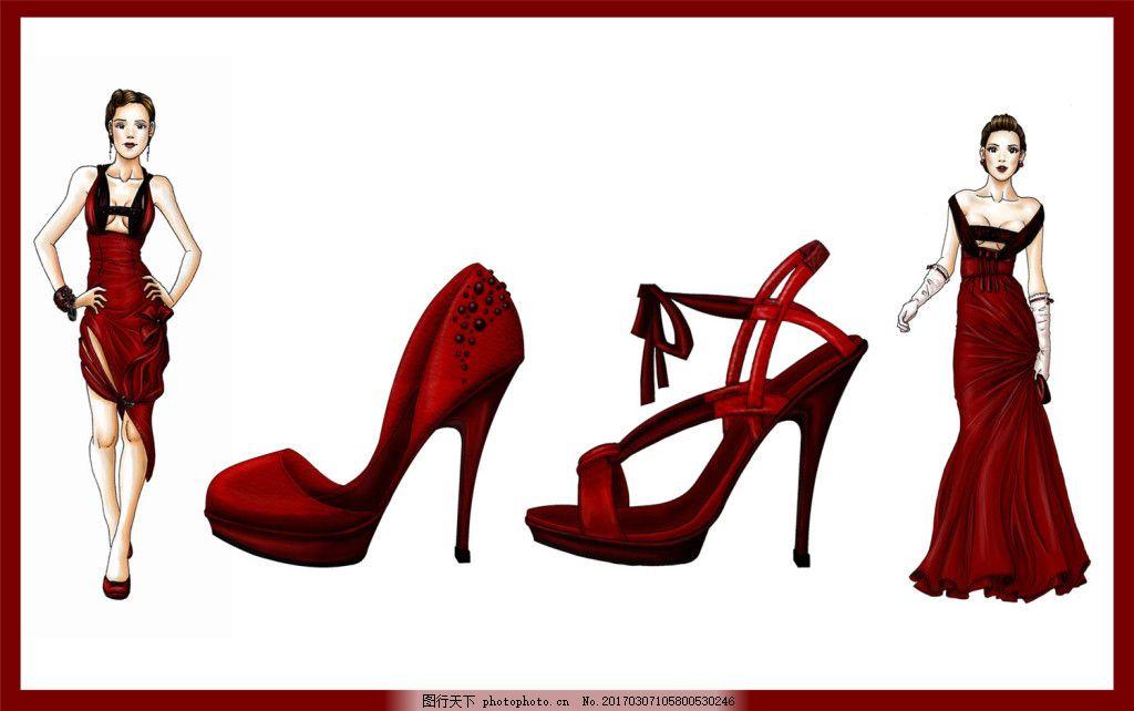 红色礼服高跟鞋设计图 服装设计 时尚女装 职业女装 职业装 女装设计