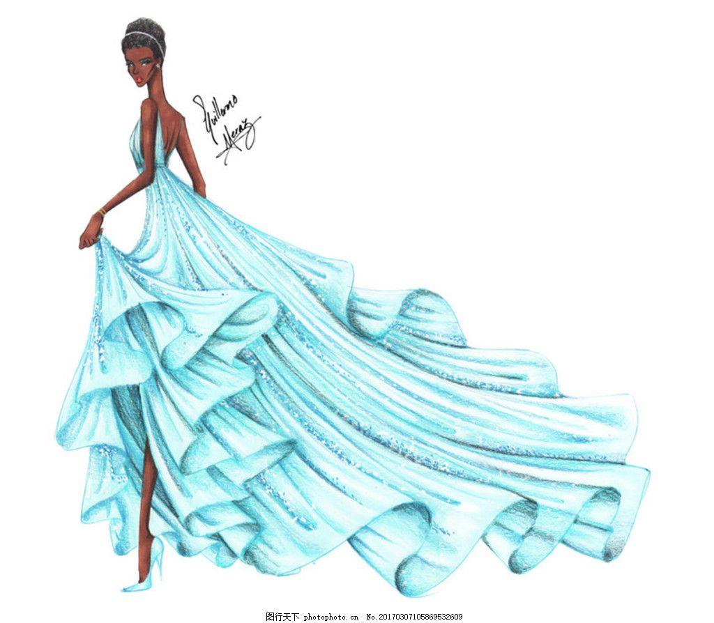 蓝色露背礼服设计图 服装设计 时尚女装 职业女装 职业装 女装设计