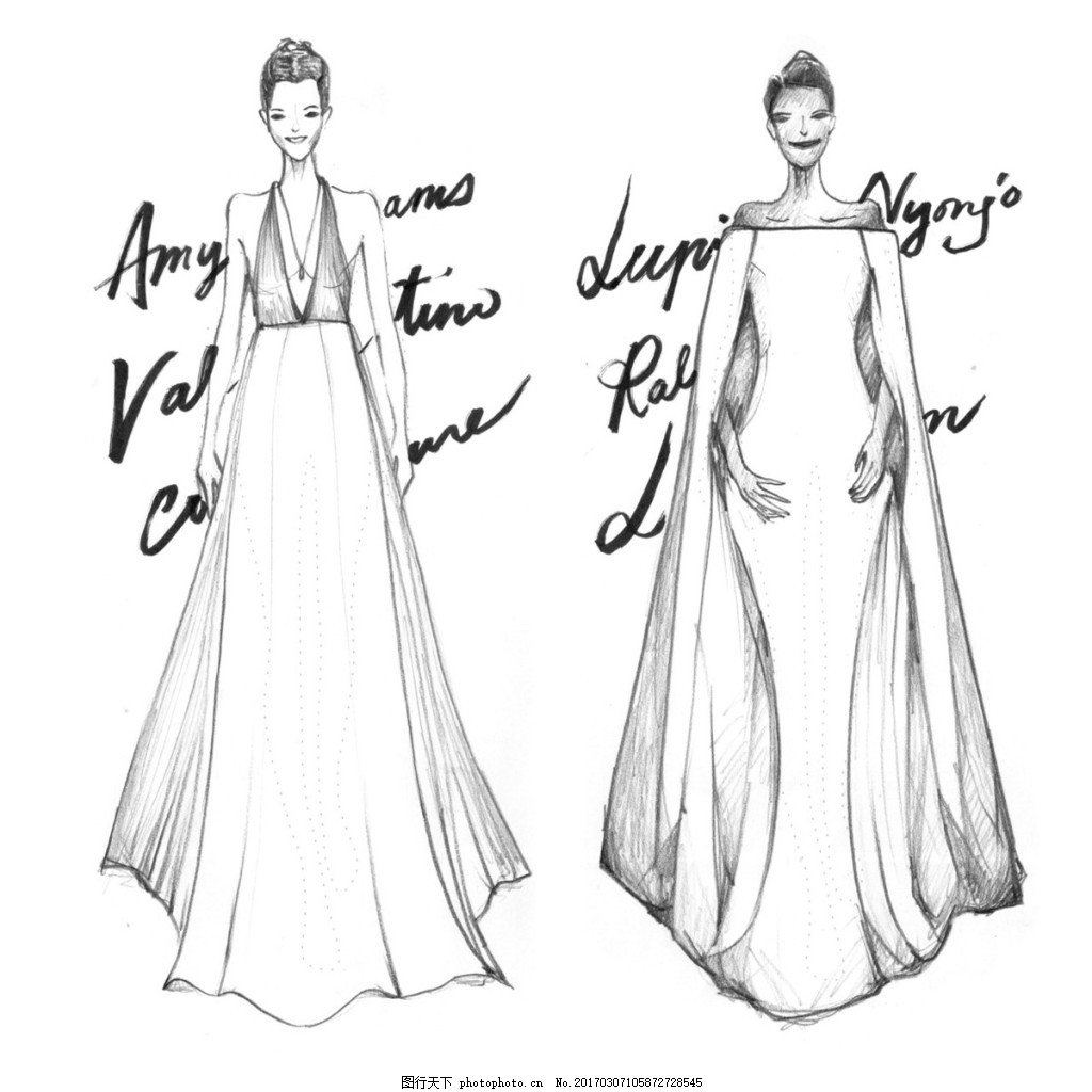 2款长裙礼服设计图 服装设计 时尚女装 职业女装 职业装 女装设计效果