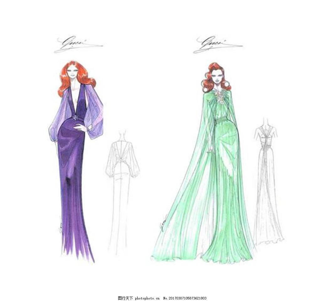 设计图库 现代科技 服装设计  2款长裙礼服设计图 服装设计 时尚女装