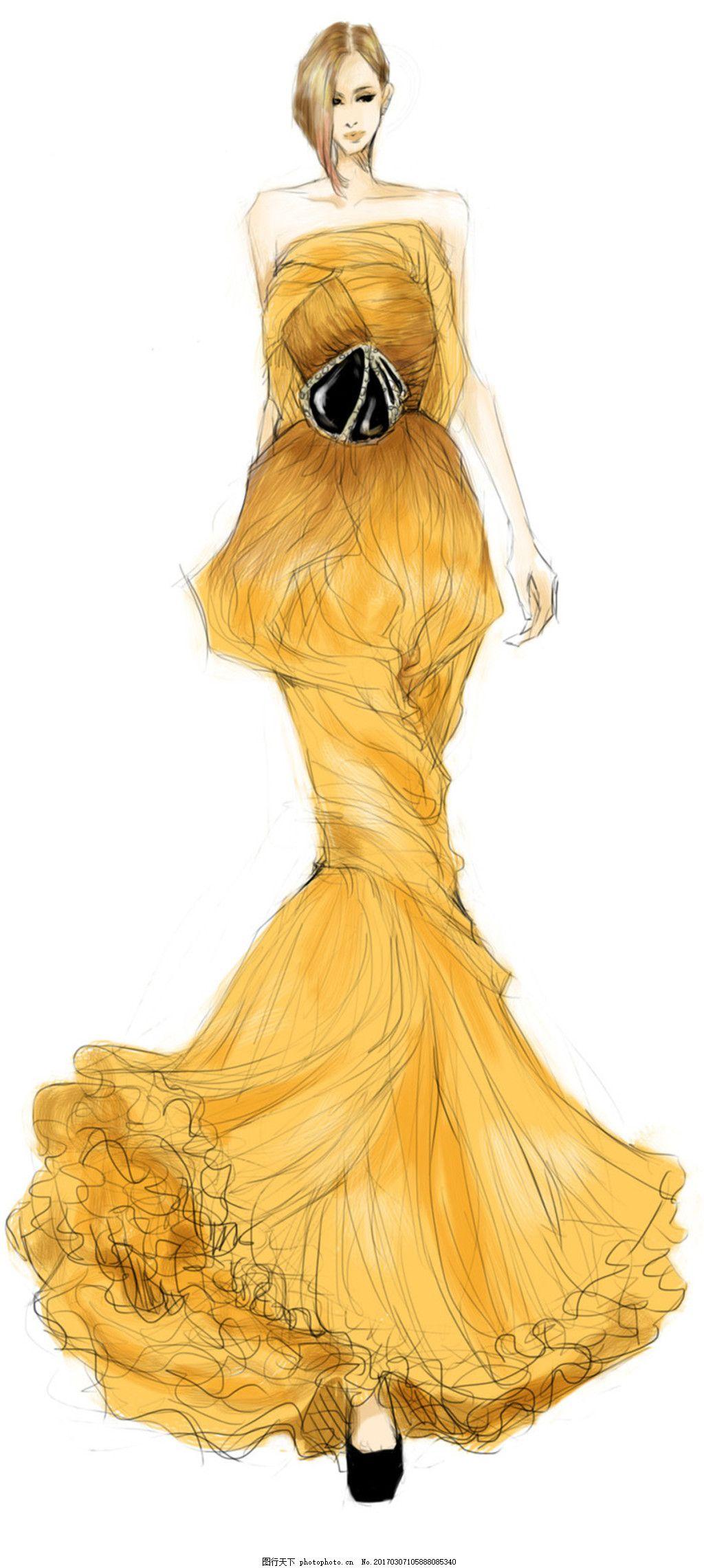 金色长裙礼服设计图