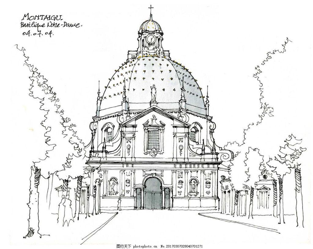 欧式建筑外景 建筑效果图素材免费下载 手绘图 图纸 建筑 平面图 jpg