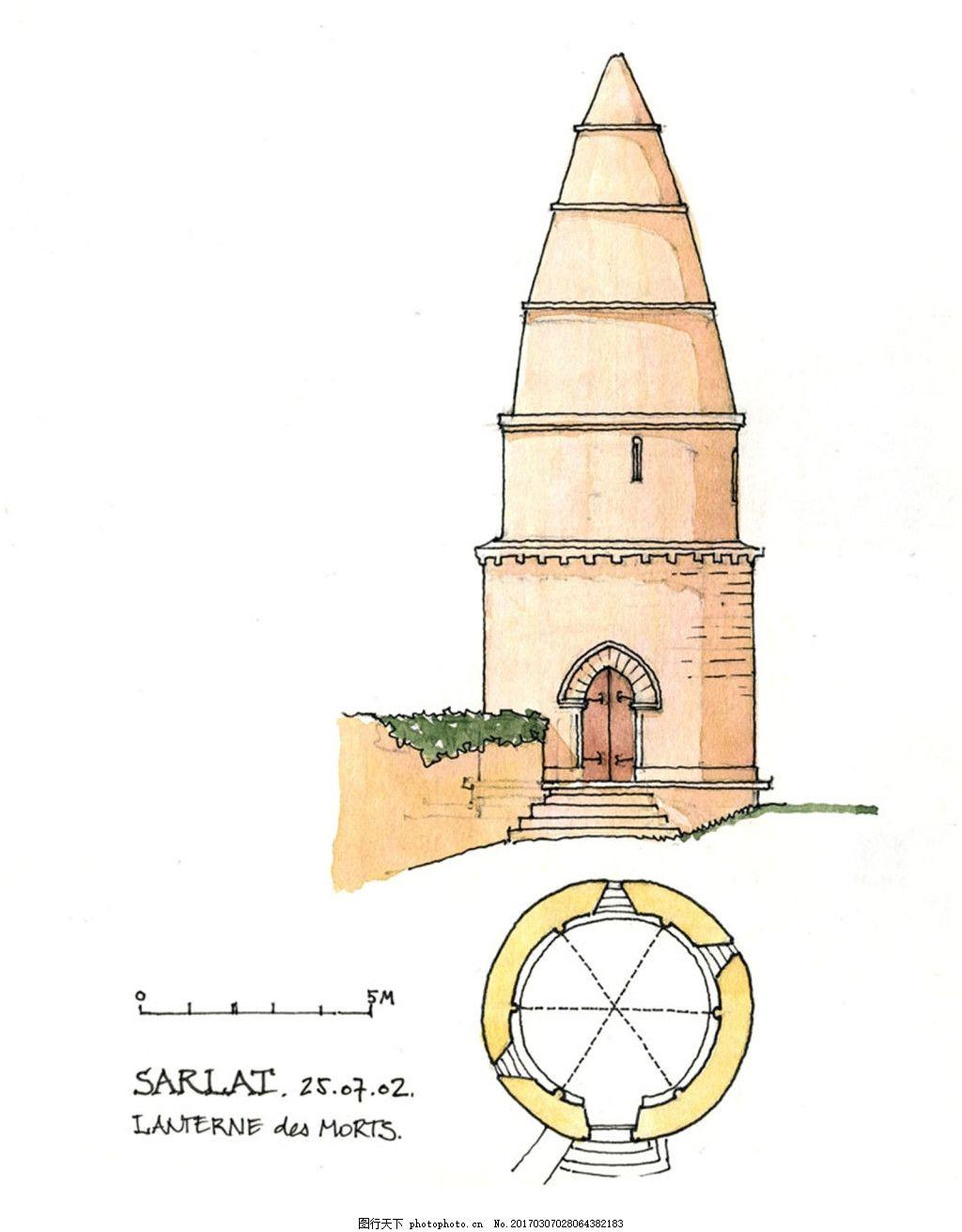 欧式锥形建筑效果图 建筑平面图素材免费下载 手绘图 图纸 城堡