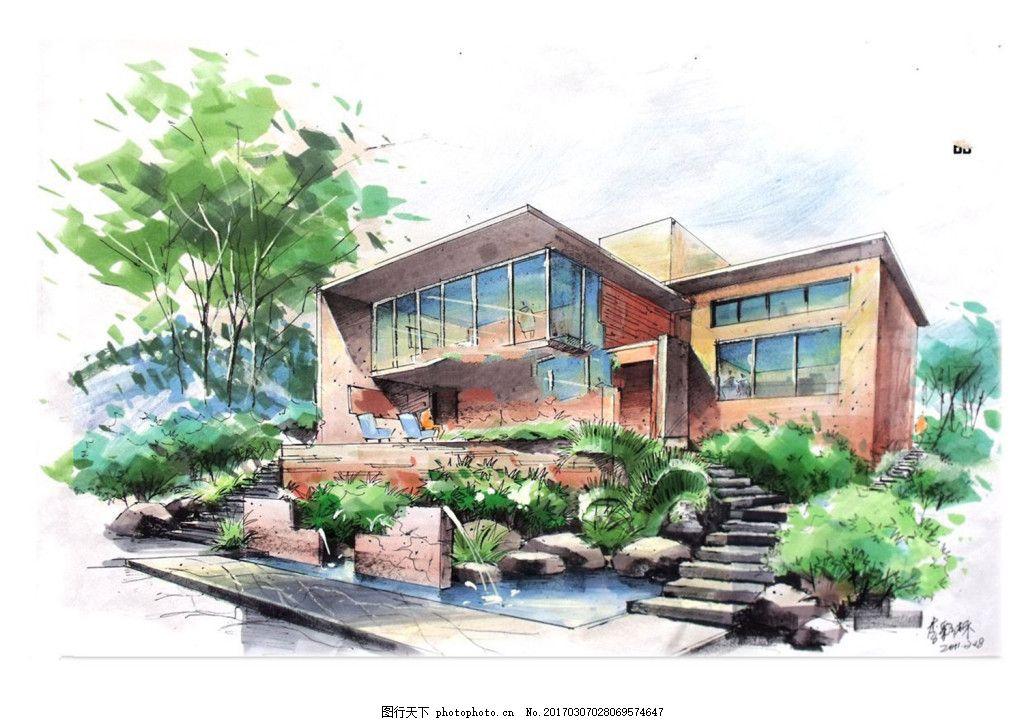 别墅建筑效果图 建筑平面图素材免费下载 手绘图 图纸 城堡 建筑施工