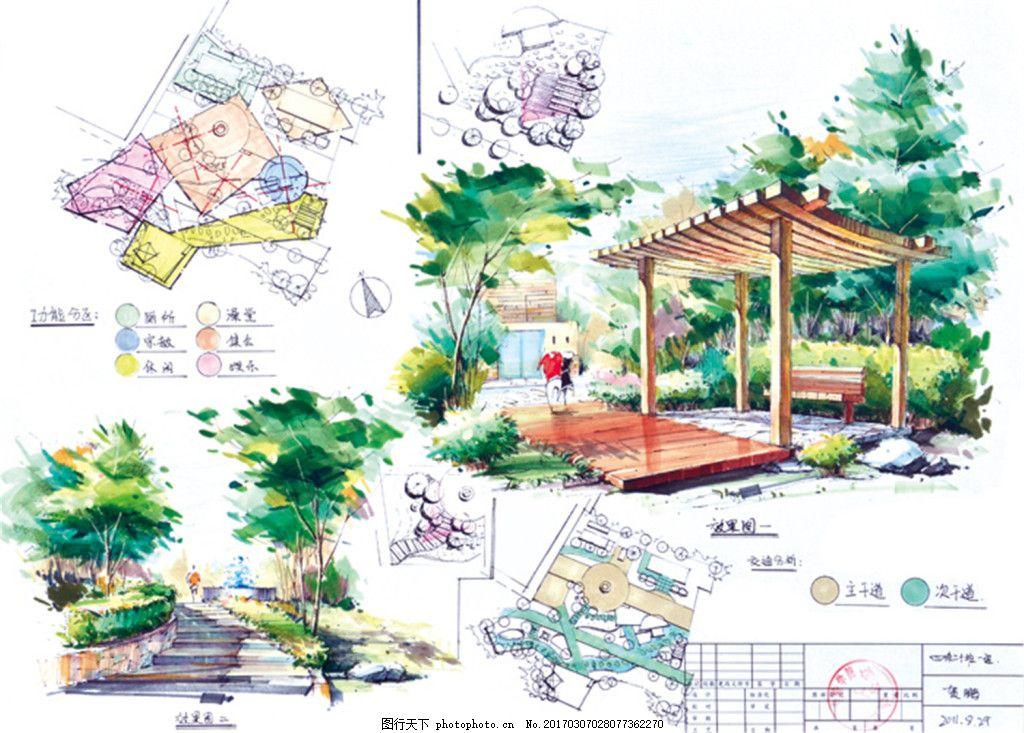 公园休闲亭效果露天 建筑平面图素材免费下载 手绘图 图纸 城堡