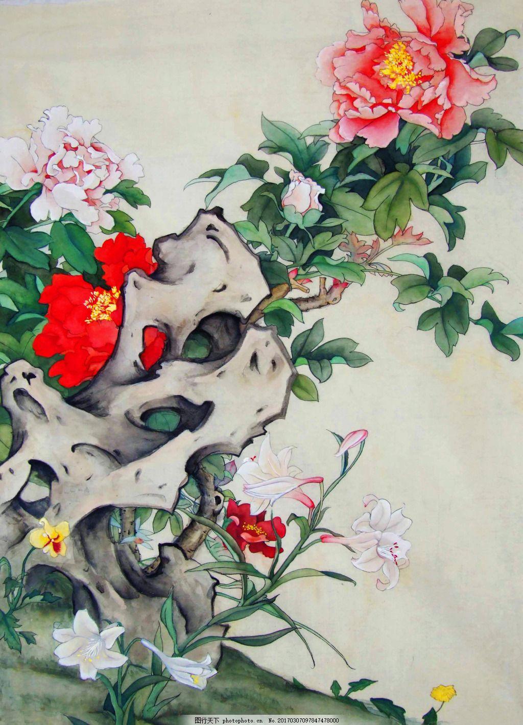 工笔牡丹百合 工笔画 中国画 牡丹花 百合花 传统