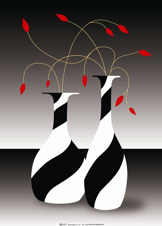 黑白条纹花瓶装饰画