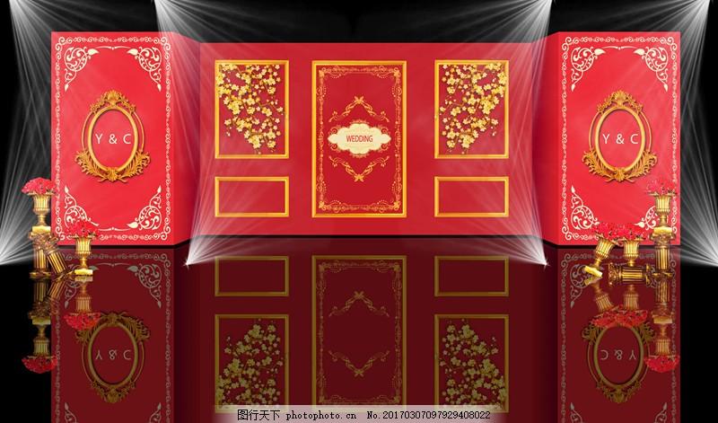 红金色婚礼迎宾效果图 红金色 婚礼 迎宾        欧式 psd 红色 金色