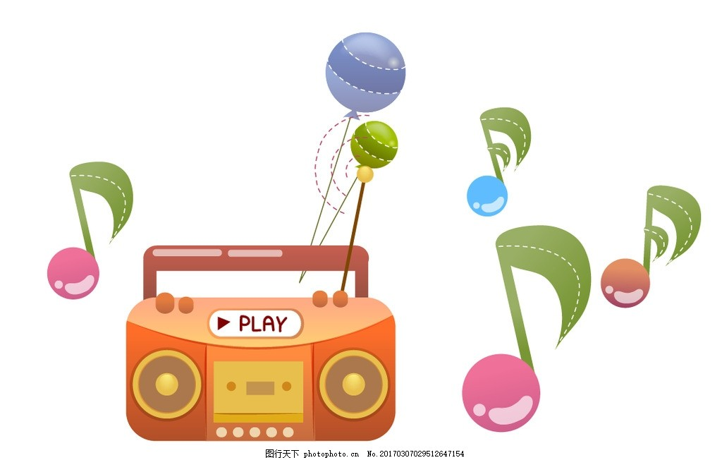 收音机 音符 卡通素材 可爱 手绘素材 儿童素材 幼儿园素材 卡通装饰
