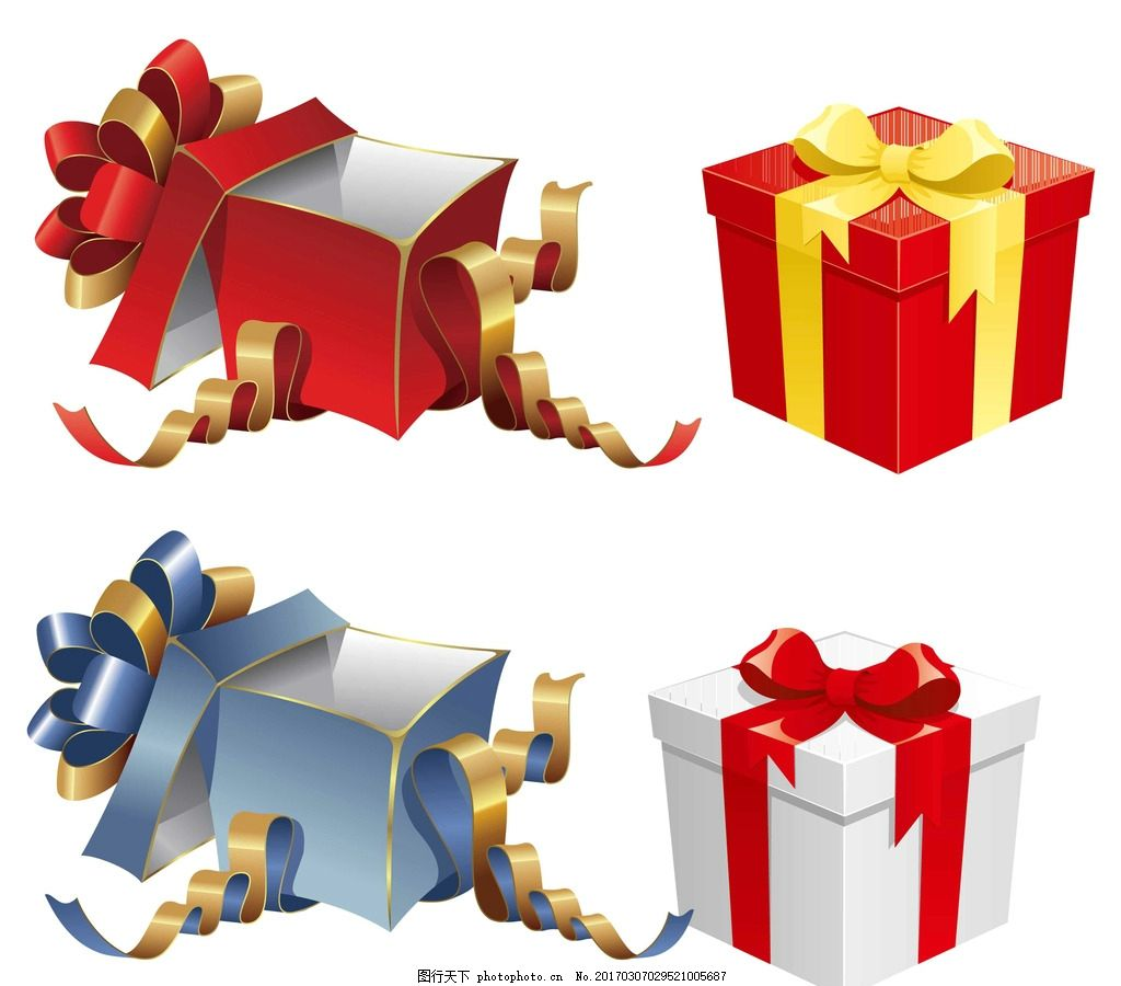 礼品 矢量礼物 矢量 卡通礼物 礼物素材 春节礼物 矢量礼品盒 打开的