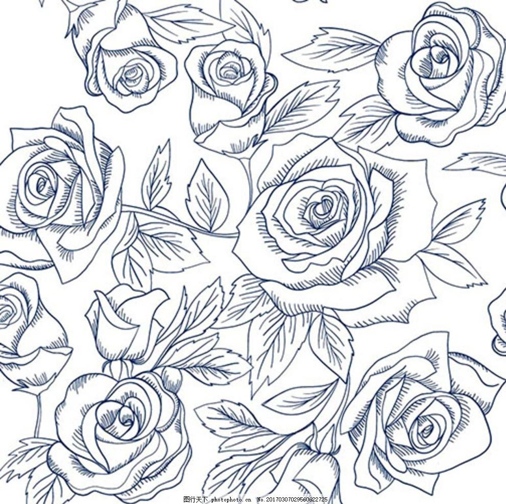 手绘素描春季线稿玫瑰 春暖花开 春季促销 春季促销海报 春季大促销
