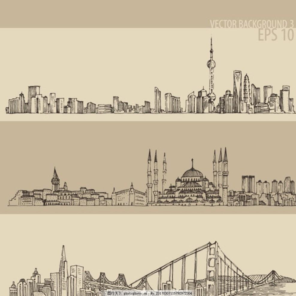 手绘城市 插图 banner 城市风景 风景 线稿 线条 线描 上海 欧洲