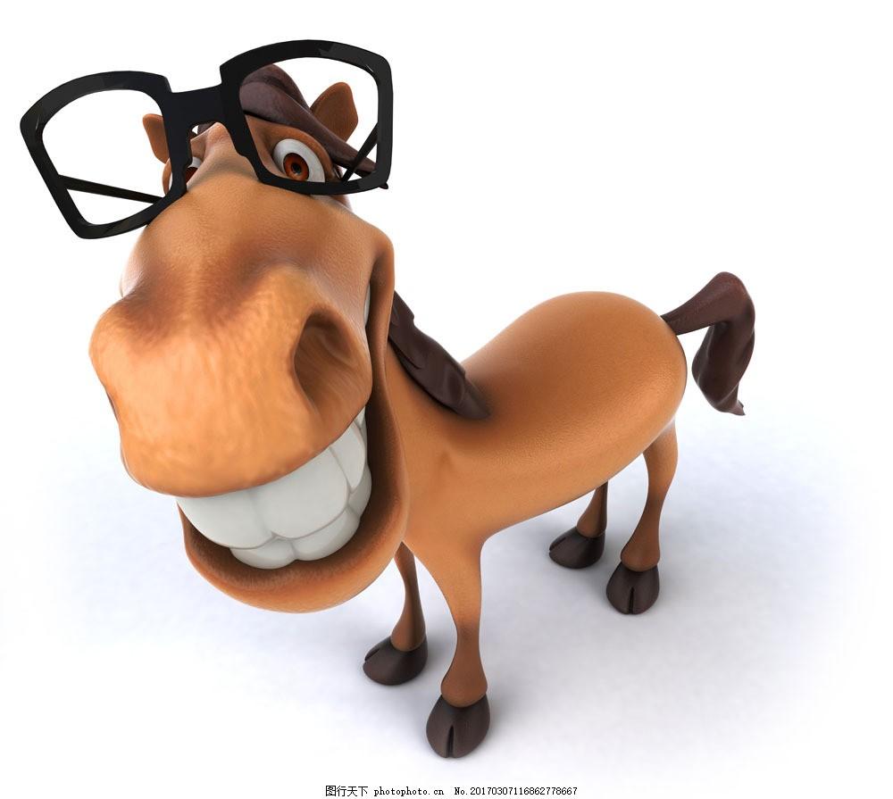 眼镜 卡通 马 圣诞 圣诞节 节日 圣诞装饰 陆地动物 生物世界 图片