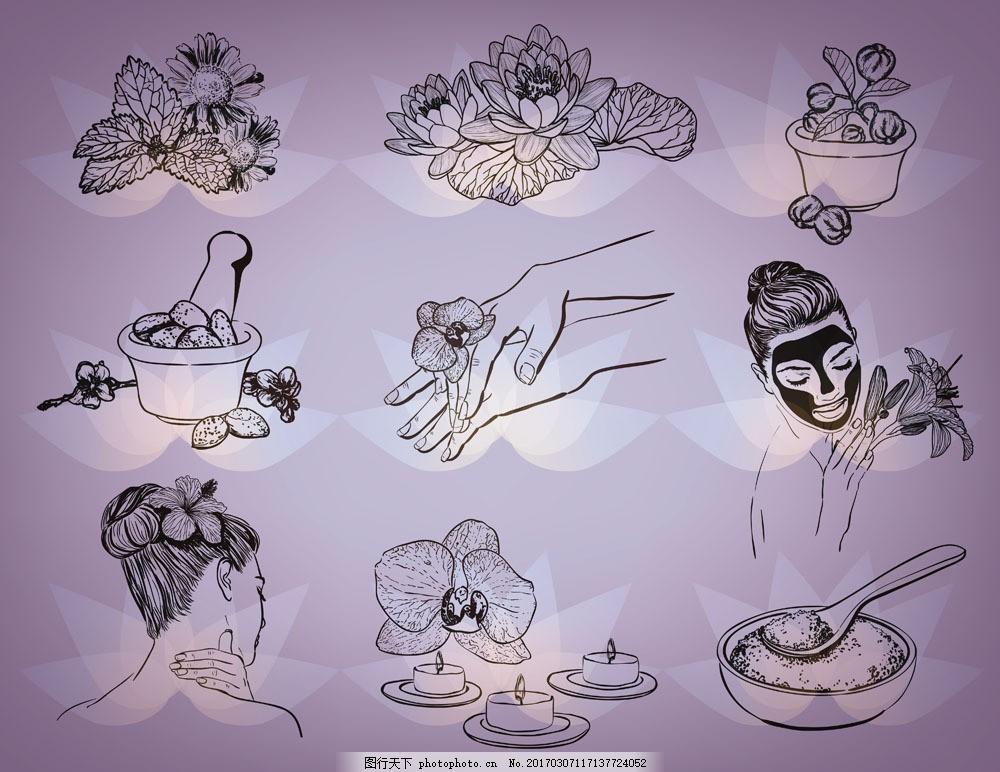 spa水疗插画 鲜花 花朵 水疗用品 性感美女插画 女人素描 铅笔画