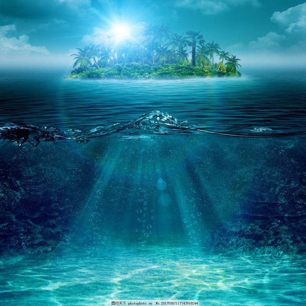 海底深处与海面图片素材 海底深处 海面 小岛 椰岛 波纹 水浪 水 水纹