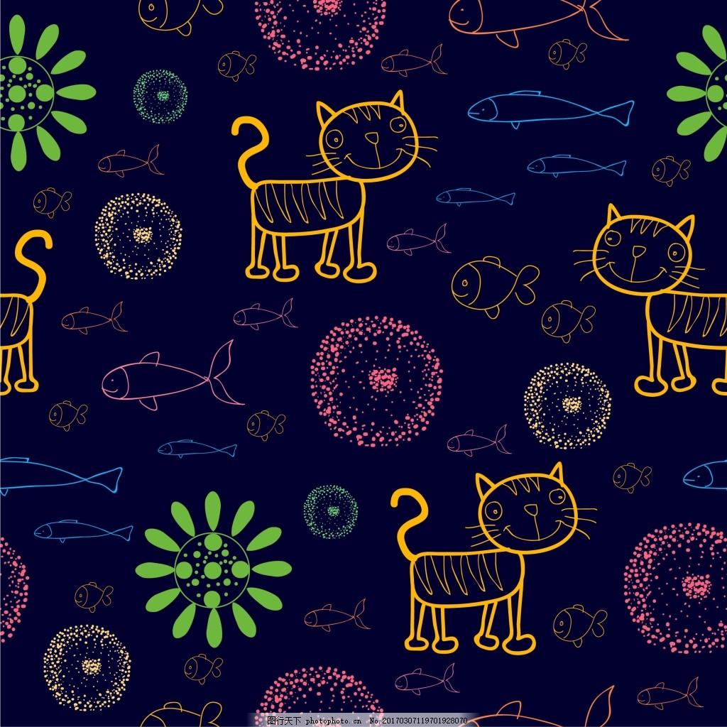 手绘猫咪创意背景 背景设计 鱼 烟花 矢量背景 卡通