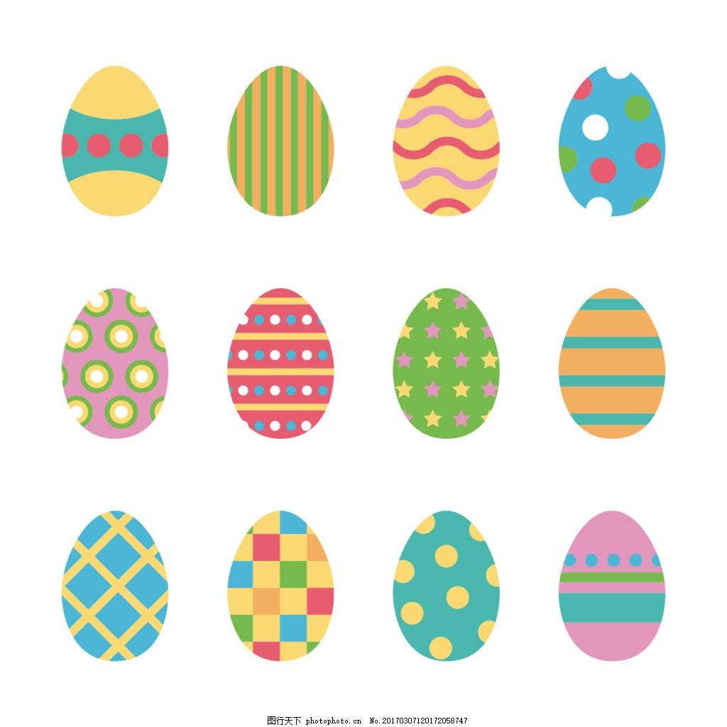 手绘创意复活蛋花纹
