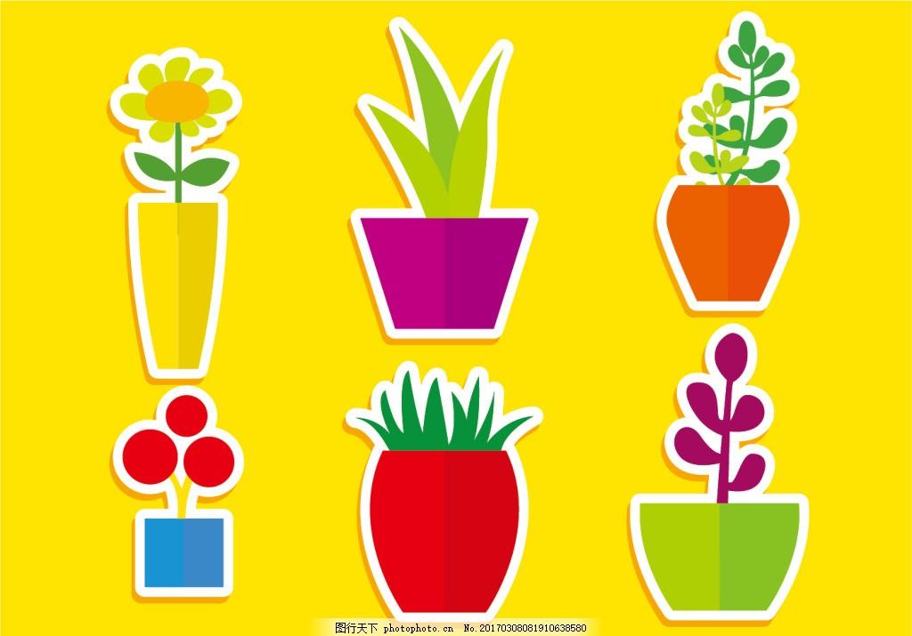 扁平化盆栽植物