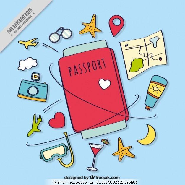 护照和旅行项目手绘背景 的背景下 旅游 一方面 地图 相机 世界