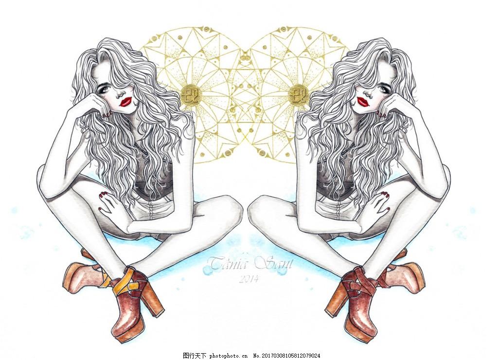 短裙设计手稿图铅笔画