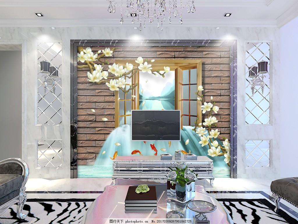 花卉装饰窗户背景墙 壁纸 风景 高分辨率图片 高清大图 建筑 装饰设计