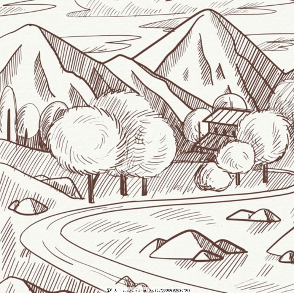 手绘素描山谷山路插图