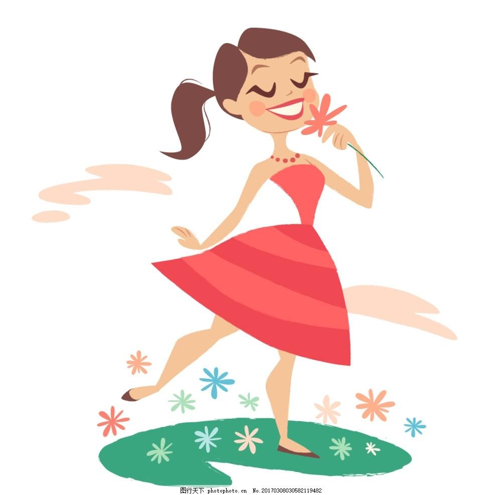 闻花的女人 妇女 女生 裙子 手绘 卡通 素材源文件 设计 广告设计