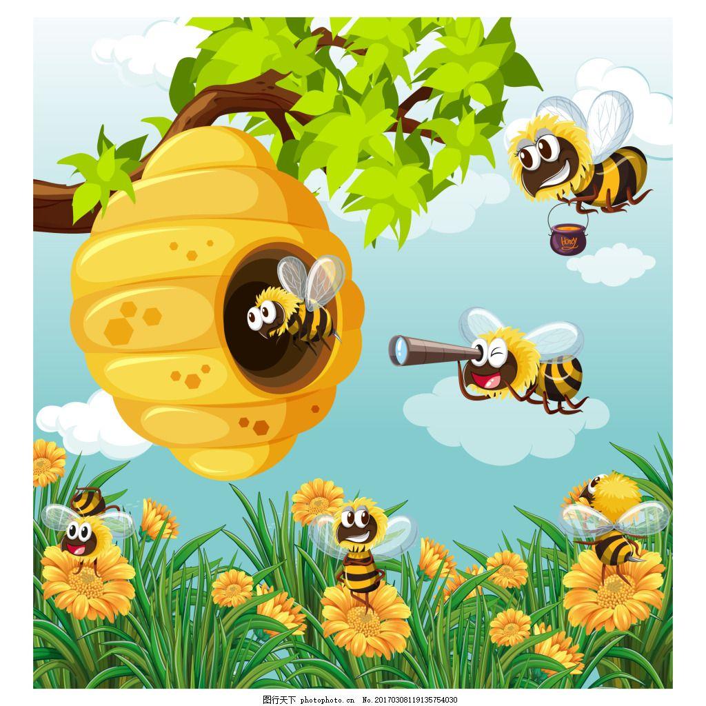 设计素材 创意设计 动物 小动物 卡通 可爱 矢量素材 ai蜜蜂 花朵