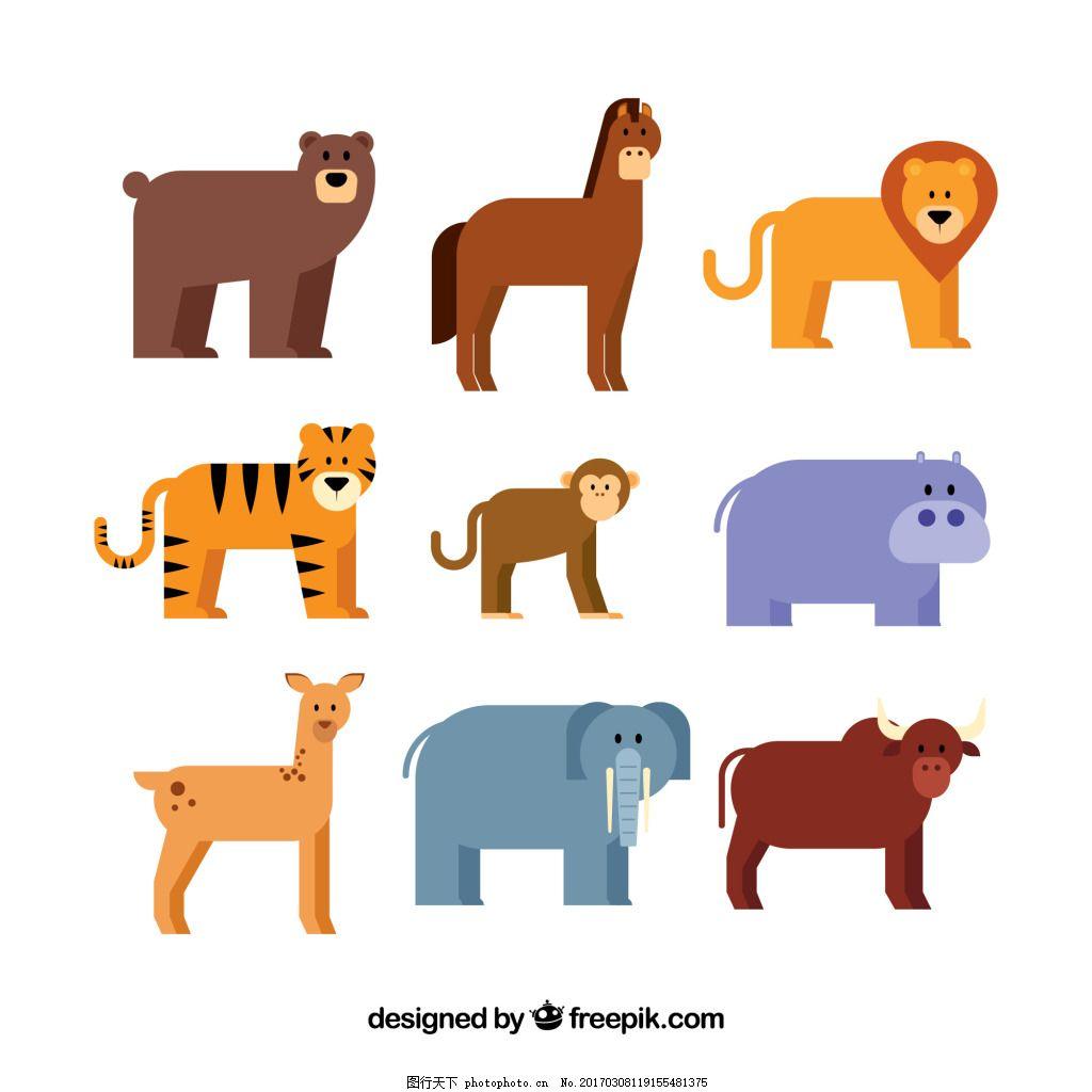 一组四只腿的小动物 元素 设计素材 创意设计 卡通 可爱 矢量素材