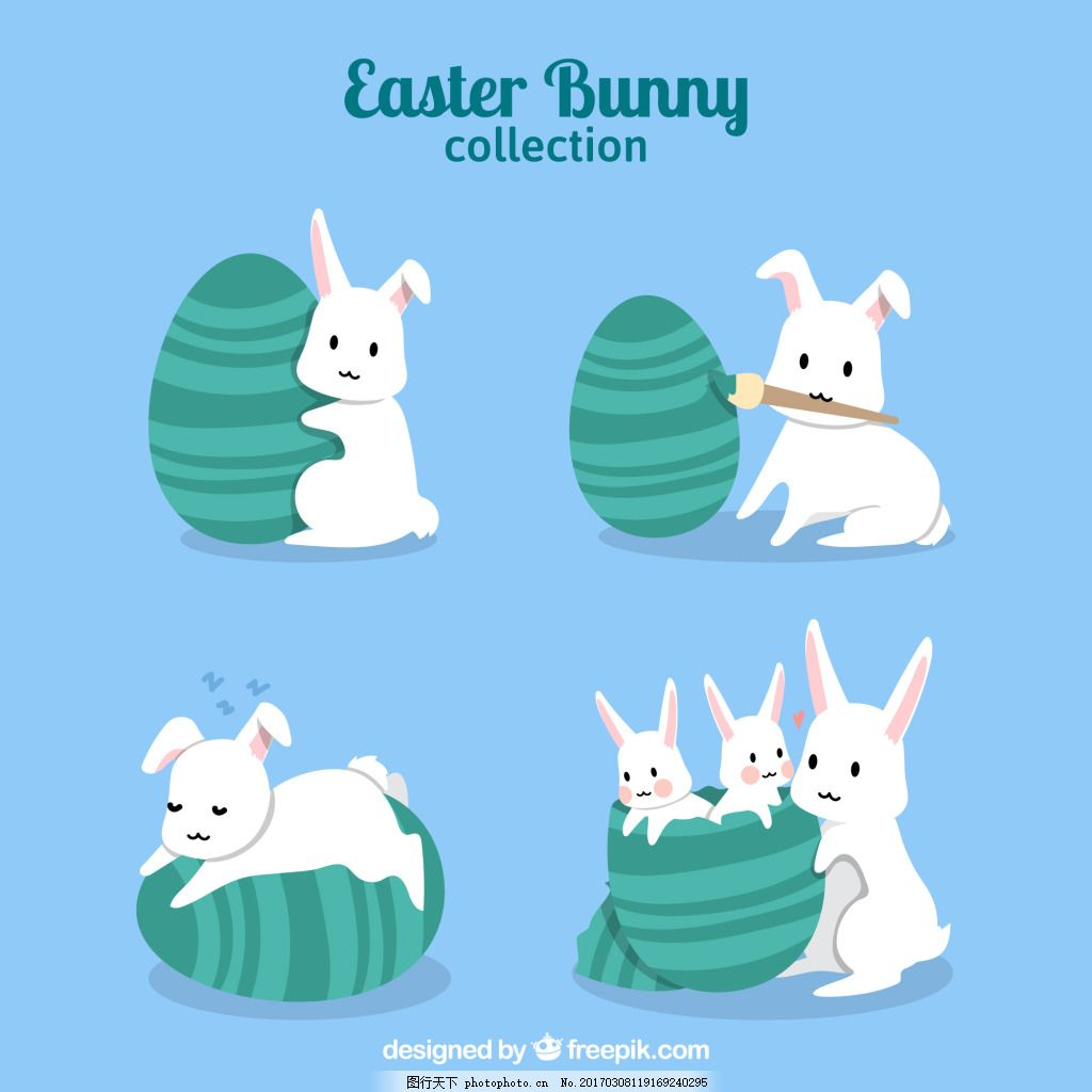 小白兔菜单矢量卡通动物素材