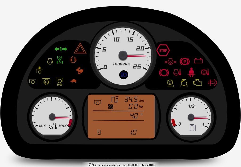 仪表盘效果图 仿真仪表盘效果图 指针 汽车仪表 温度图标 燃油