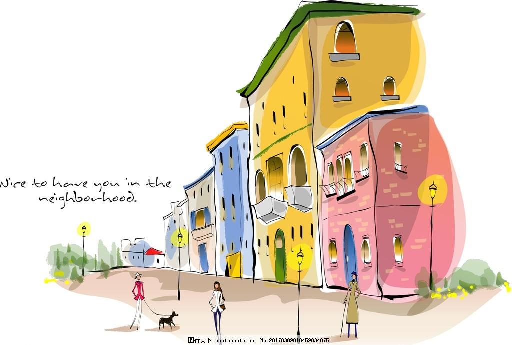 欧美风格简笔画,水彩画 油画 丙烯画 墙绘 布丁酒店