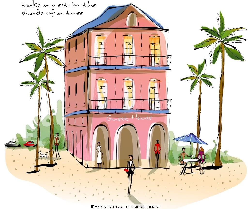 欧美风格简笔画 欧美 简笔画 水彩画 油画 丙烯画 墙绘 布丁酒店 线条