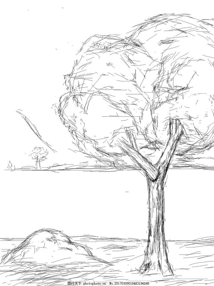 线性铅笔画 铅笔 树 石头 河 小草 设计 动漫动画 风景漫画 300dpi