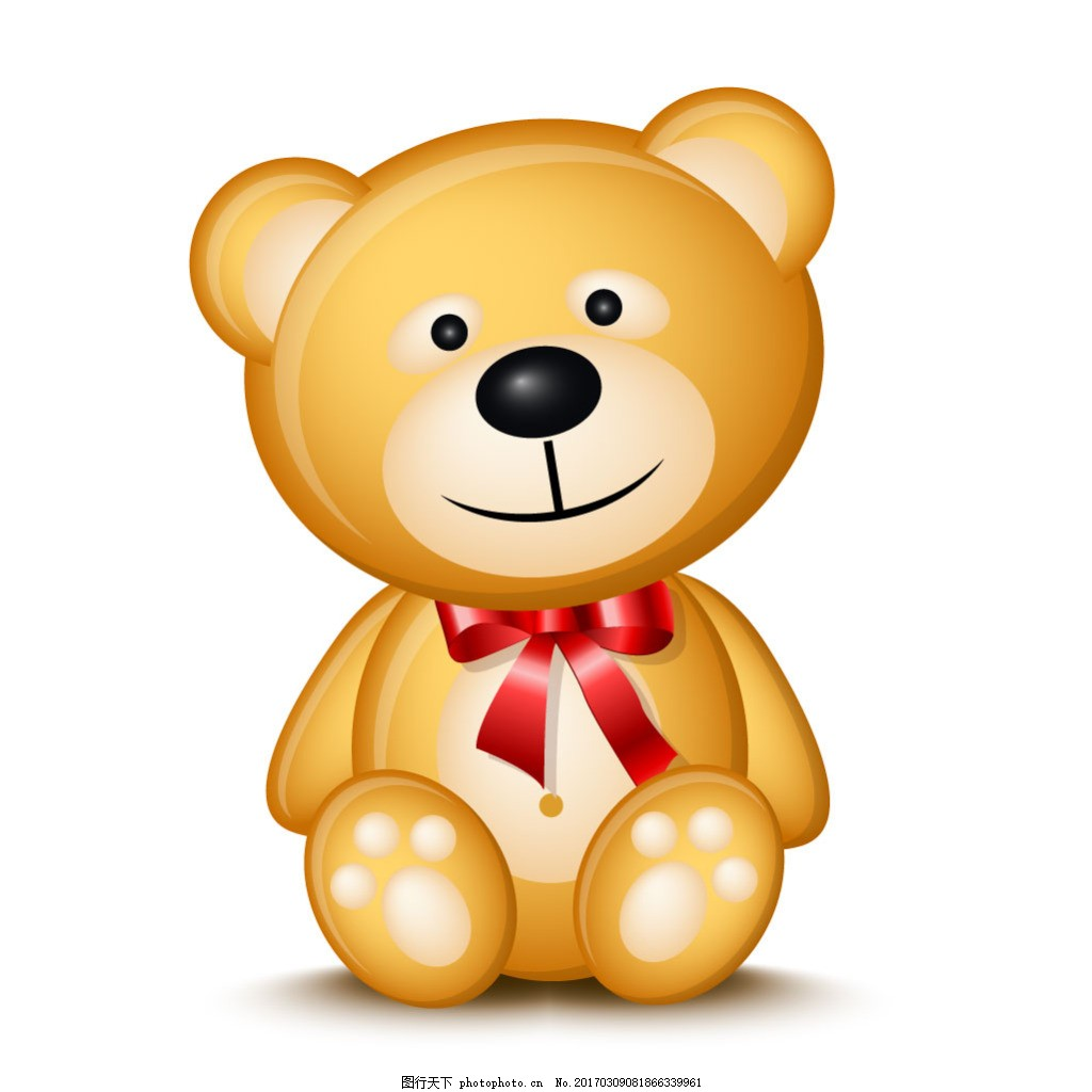 可爱棕熊玩偶矢量素材